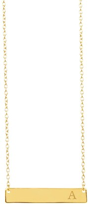 Sterling Forever 14K Yellow Gold Vermeil Bar Initial Necklace - Multiple Letters Available