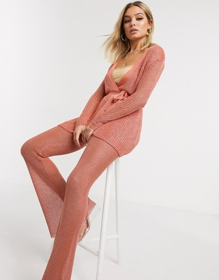 Sorelle UK knitted shimmer tie front longline cardi co-ord in pink