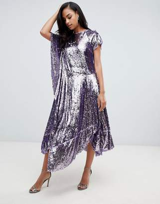 Asos Edition EDITION drape sequin dress with asymmetric hem-Purple