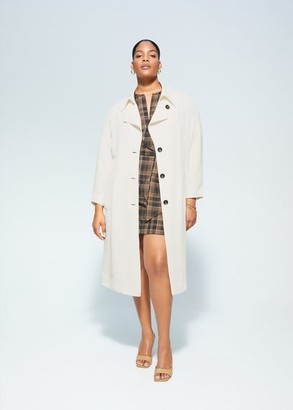 MANGO Violeta BY Belt gabardine trench off white - M - Plus sizes