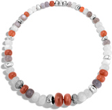 John Hardy Women's Bamboo Necklace in Sterling Silver with Peach Moonstone and Pave Grey Diamond (2.05ct)