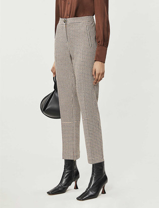 Me And Em Houndstooth cropped woven trousers
