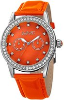 August Steiner Women's Quartz Stainless Steel and Leather Casual Watch, Color:Orange (Model: AS8234OR)