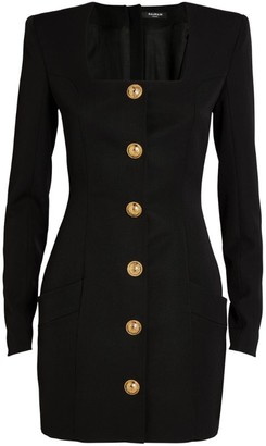 Balmain Wool Button-Detail Dress