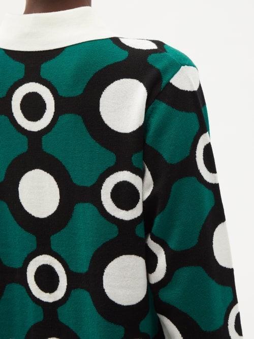 Thumbnail for your product : Charles Jeffrey Loverboy Circle-intarsia Merino-wool Rugby Shirt - Dark Green