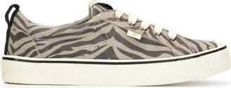 Cariuma OCA Low Stripe Zebra Print Grey Suede Sneaker