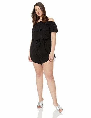 City Chic Women's Apparel Women's Plus Size Off Shoulder 3/4 Sleeved Solid Playsuit