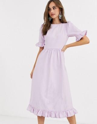 Asos Design DESIGN denim prairie dress with frill in lilac-Purple