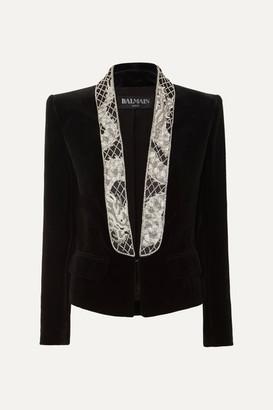 Balmain Cropped Bead-embellished Velvet Blazer - Black