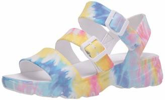 Skechers Women's Cali Gear Tie Dye Print Molded D'Lites 2.0 3-Band with Luxe Foam Sandal