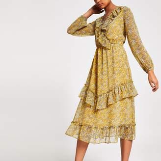 River Island Womens Yellow floral print frill wrap dress
