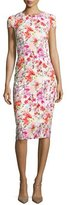 David Meister Cap-Sleeve Floral Ponte Sheath Dress, Pink