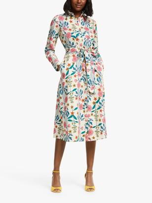 Boden Isadora Floral Shirt Dress, Ivory/Garden Charm