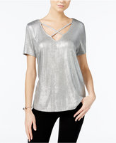 Bar III Metallic Crisscross Top, Only at Macy's