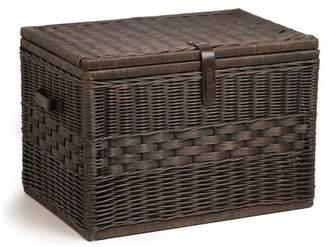 Trunks The Basket Lady Deep Wicker Storage Trunk, Antique Walnut Brown, Large