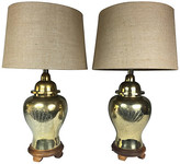 One Kings Lane Vintage Brass Peacock Ginger Jar Lamps - Set of 2 - Von Meyer Ltd. - brown/brass