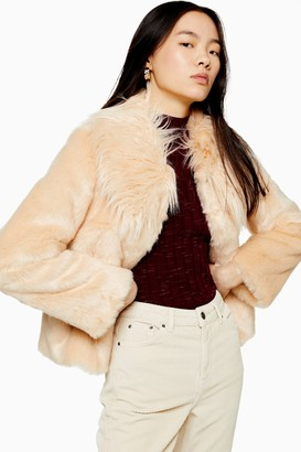 Topshop Womens Luxe Faux Fur Coat - Nude