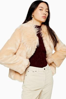 Topshop Womens Luxe Faux Fur Coat - Nude