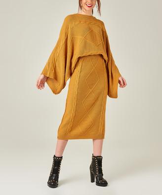 Aqe Fashion AQE Fashion Women's Casual Skirts MUSTARD - Mustard Cape-Sleeve Sweater & Pencil Skirt Set - Women