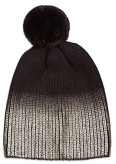Jocelyn Ombre Metallic & Faux Fur Pom Pom Knit Hat