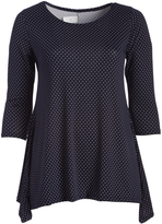 Glam Navy & White Polka Dot Sidetail Tunic - Plus