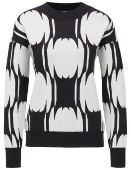 BOSS Relaxed-fit sweater with abstract pattern