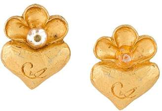 Christian Lacroix Pre-Owned heart and flower earrings