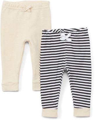 Sweet & Soft Boys' Casual Pants Oatmeal - Oatmeal & Black Stripe Pants Set - Newborn & Infant