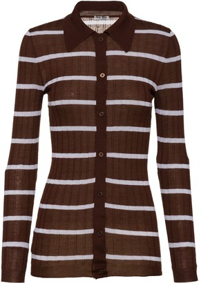 Miu Miu Stripe Ribbed Knit Cardigan