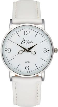 Bermuda Watch Company Annie Apple Alore Silver/White Leather Hairdresser Scissor Hands Watch