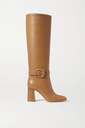 Gianvito Rossi 85 Leather Knee Boots - Beige