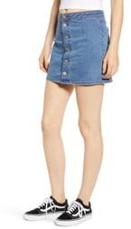 Tinsel Button Front Denim Miniskirt