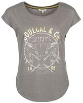 Soul Cal SoulCal Womens Fashion Logo T Shirt Tee Top Capped Sleeves Distressed Print