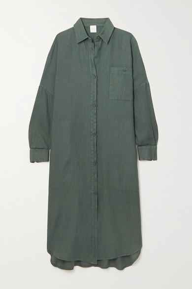 Max Mara + Leisure Procida Linen Shirt Dress - Dark green