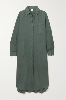 Max Mara + Leisure Procida Linen Shirt Dress - Dark green