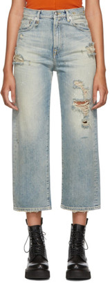 R 13 Blue High-Rise Camille Jeans