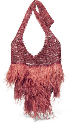 Johanna Ortiz Volvemos Al Mar Feather And Satin-trimmed Macrame Shoulder Bag - Burgundy