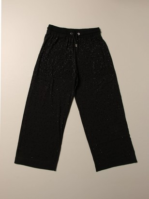 Diesel Wide Jogging Trousers With All-over Micro Rhinestones