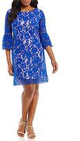 Eliza J Plus Bell-Sleeve Lace Shift Dress