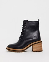 Timberland Sienna leather mid heeled ankle boots in black