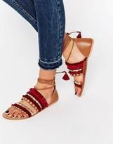 Asos FUNFAIR Tie Leg Flat Sandals