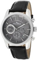 Lucien Piccard Men's 12356-014 Mulhacen Chronograph Textured Dial Black Leather Watch