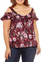 Self Esteem Short Sleeve Velvet Floral Blouse-Juniors Plus