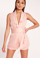 Missguided Plunge Collar Belted Jacket Pink