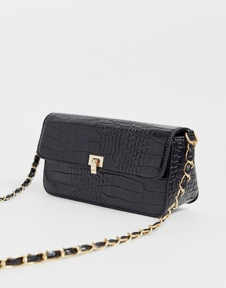 Glamorous mock croc patent cross body with chain strap-Black