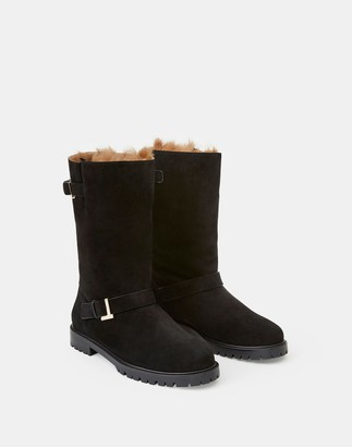 Lafayette 148 New York Suede & Shearling Jordan Icon Boot