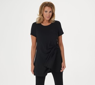 Dennis Basso Woven Short-Sleeve Tunic with Knot Detail