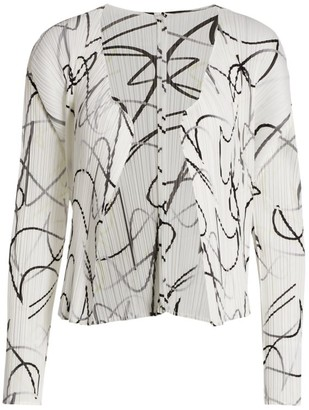 Pleats Please Issey Miyake Conductor Printed Jacket