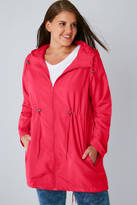 Yours Clothing Raspberry Pink Shower Resistant Pocket Parka Jacket With Hood