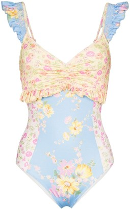 LoveShackFancy Verena floral print ruffled swimsuit